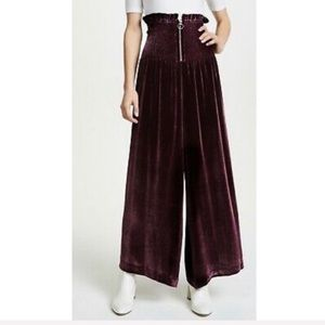 New REBECCA TAYLOR Smocked Waist Zip-Front Pants